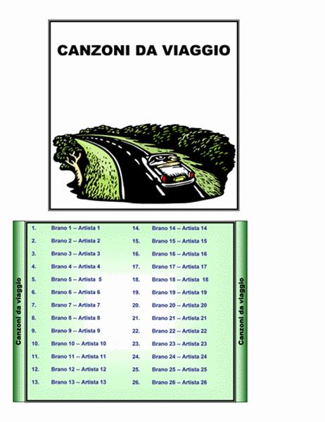 Inserti per custodia CD Canzoni da viaggio