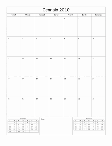 Calendario 2010 (struttura di base, lun-dom)