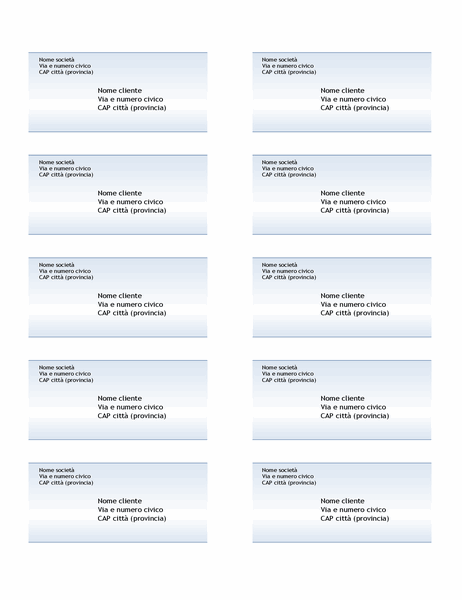 Etichette di spedizione (schema Sfumatura di blu, 10 per pagina)