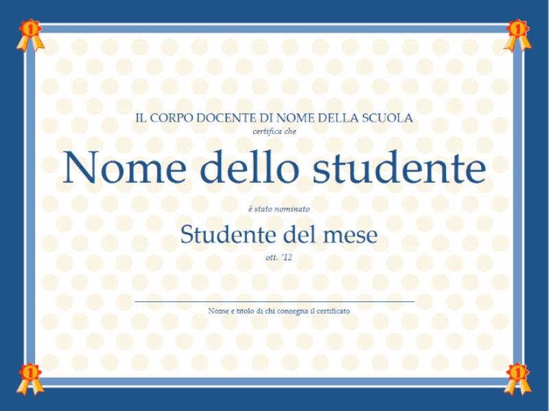 Certificato di Studente del mese