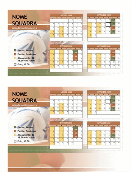 Calendario tascabile 2008 per sport giovanili (autunno)