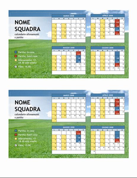 Calendario tascabile 2008 per sport giovanili (primavera)