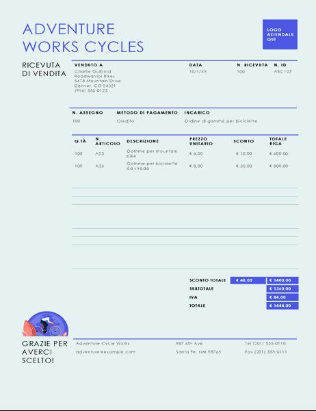 Ricevuta di vendita (schema Semplice blu)