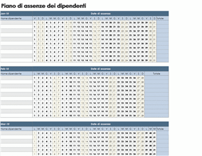 Scheda assenze dipendenti 2010