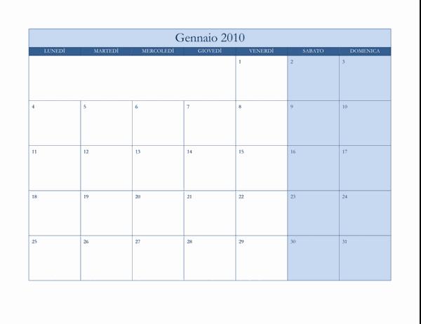 Calendario 2010 (tema blu classico, lunedì-domenica)