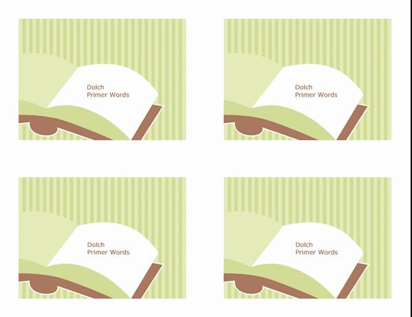 Cartoline didattiche per l'insegnamento della lingua inglese (Dolch Preprimer Sight Words; lato posteriore; adatte ad Avery 3263, 8387)