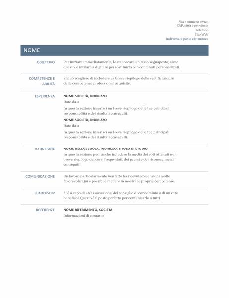 Curriculum di base (modello senza tempo)