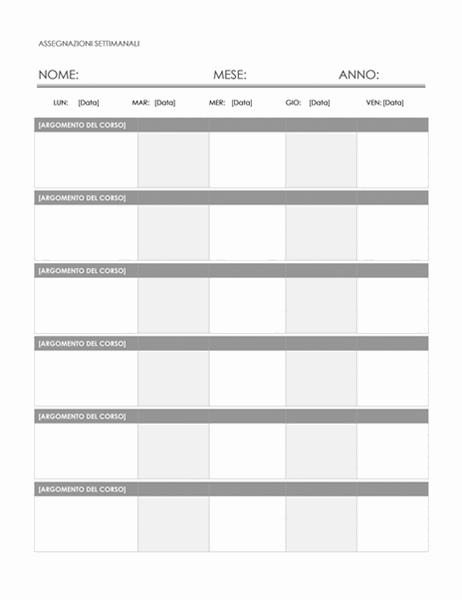 Calendario compiti settimanali