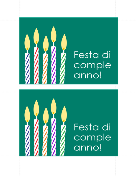 Cartoline di invito per compleanno (2 per pagina)