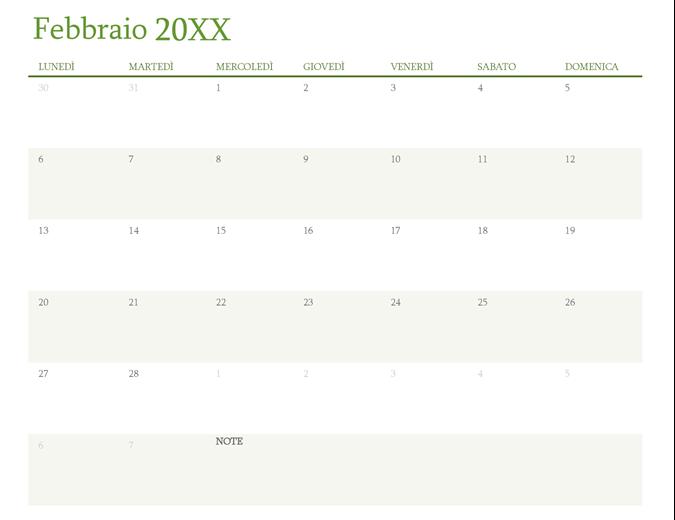 Calendario per qualsiasi anno (1 mese per scheda)