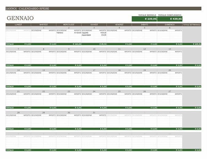 Calendario spese per qualsiasi anno