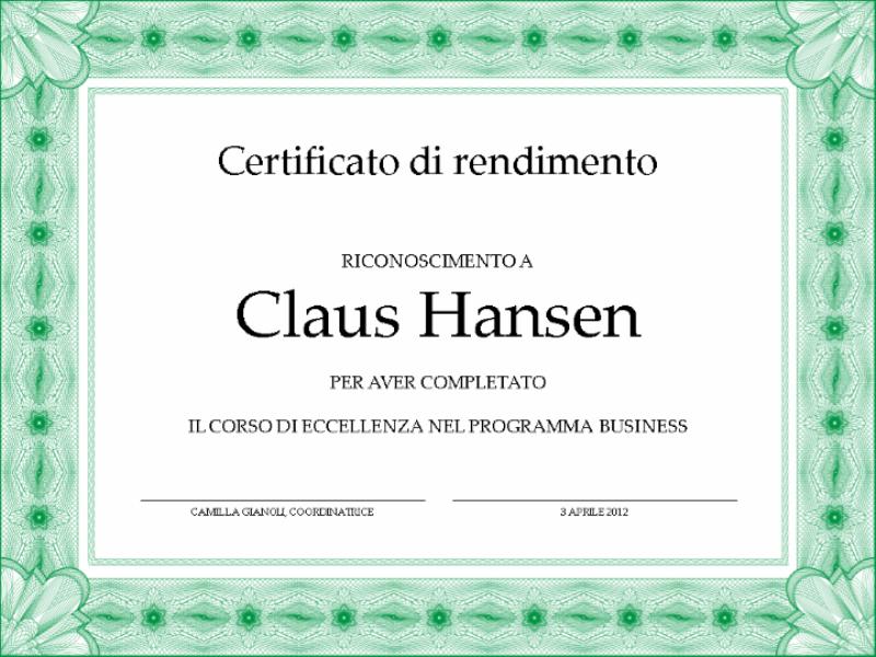 Certificato di completamento (verde)