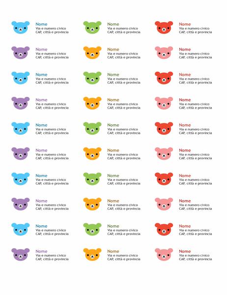 Etichette di indirizzi (orsetti)