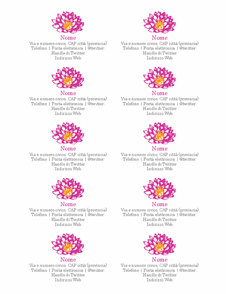 Biglietti da visita personali floreali