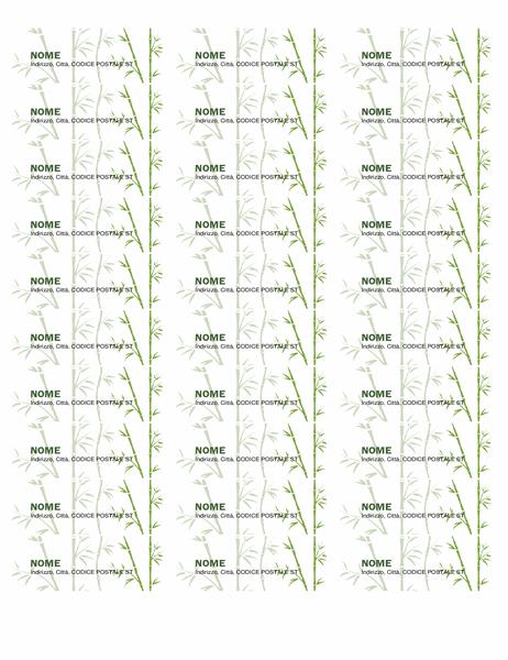 Etichette di indirizzi mittente (Bamboo, 30 per pagina, compatibile con Avery 5160 e simili)