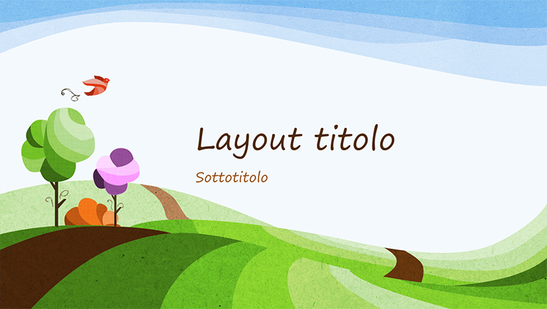Presentazione a tema naturale, modello con paesaggio illustrato (widescreen)