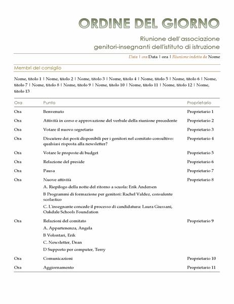 Ordine del giorno dell'associazione genitori-insegnanti