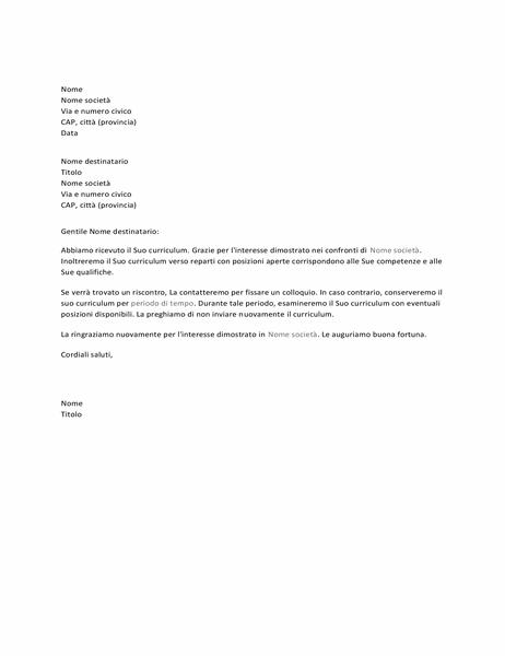 Lettera di conferma della ricezione della candidatura per il posto di lavoro