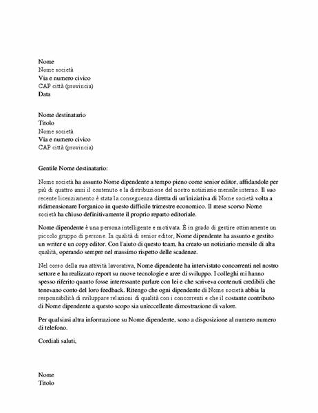 Lettera di referenze per dipendente professionista