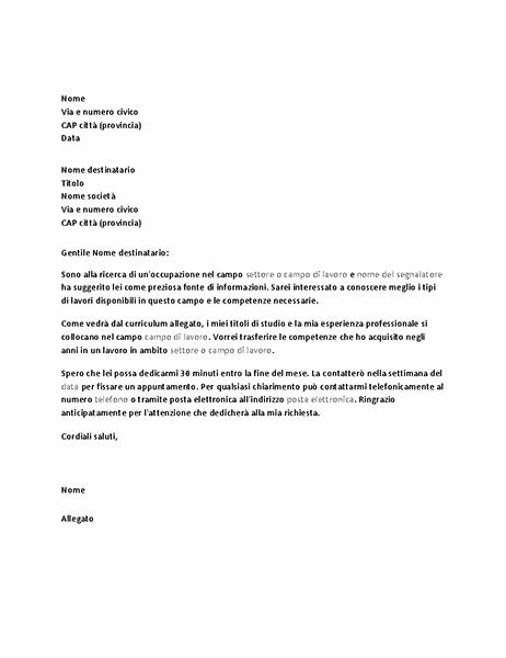Lettera di richiesta di colloquio informativo