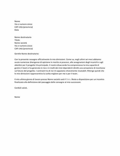 Lettera di dimissioni per conflitti con il capo