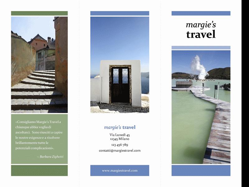 Brochure di viaggio in tre parti (schema blu e verde)