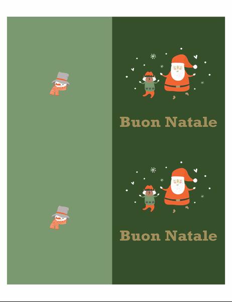 Biglietti d'auguri natalizi (schema Spirito del Natale, 2 per pagina, per carta Avery)