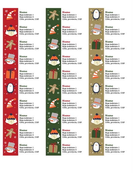 Etichette di indirizzi (schema Spirito del Natale, 30 per pagina, compatibile con Avery 5160)