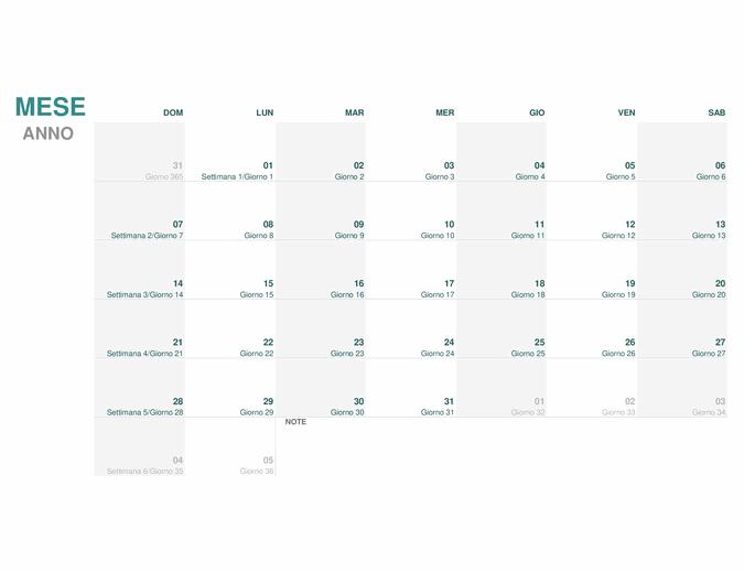 Calendario giuliano (qualsiasi anno)
