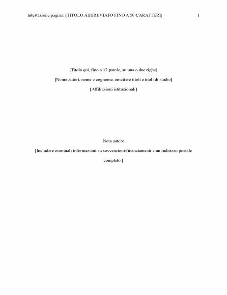 Relazione in stile APA (sesta edizione)