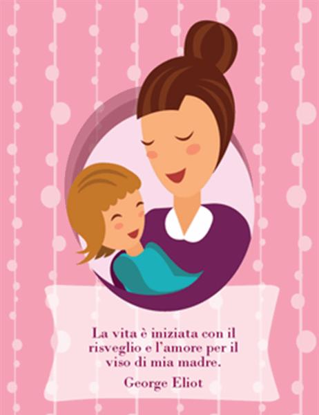 Biglietto per la festa della mamma (con mamma e bambino piegatura a quattro)