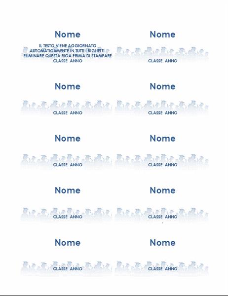 Biglietti con nome del laureato (10 per pagina)