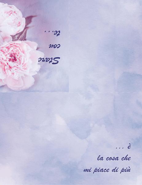 Biglietto d'amore (con rosa, piegatura quadrupla)