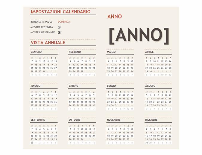 Calendario per qualsiasi anno con tabella delle festività