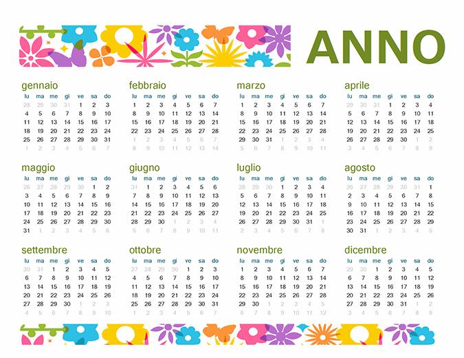 Allegro calendario per qualsiasi anno
