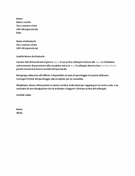 Lettera di conferma di colloquio per un candidato