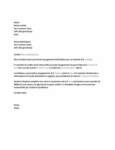 Lettera di sollecito di pagamento di un insoluto