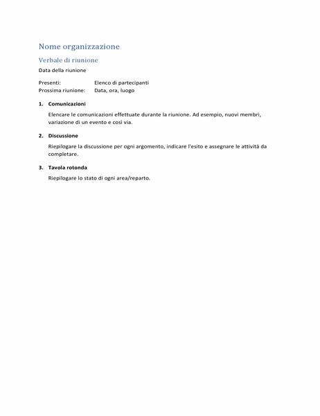 Verbale di riunione (modulo breve)
