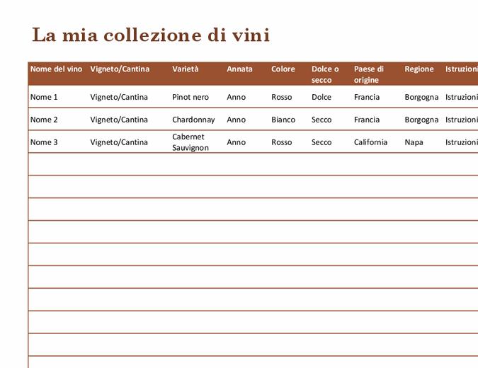 Elenco per collezione di vini