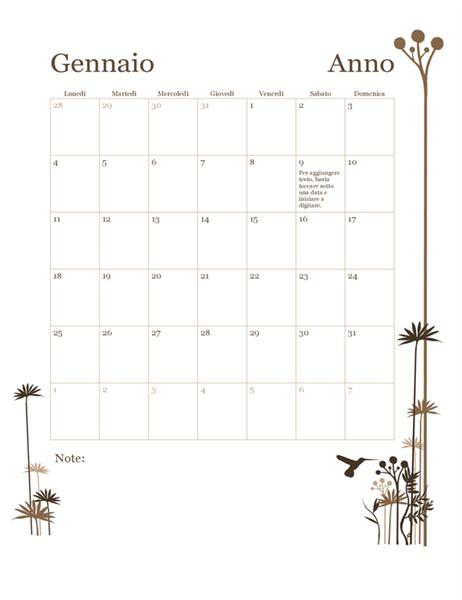 Calendario colibrì 12 mesi (lun-dom)