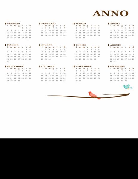 Calendario annuale uccellino (lun-dom)
