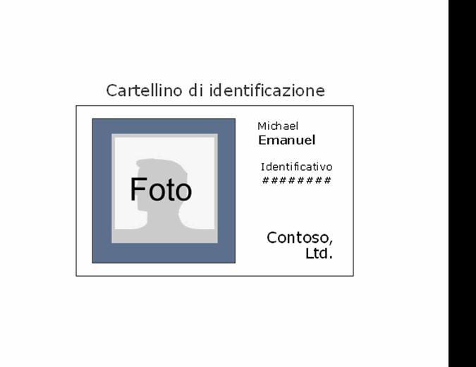 Cartellino di identificazione dipendente (orizzontale)