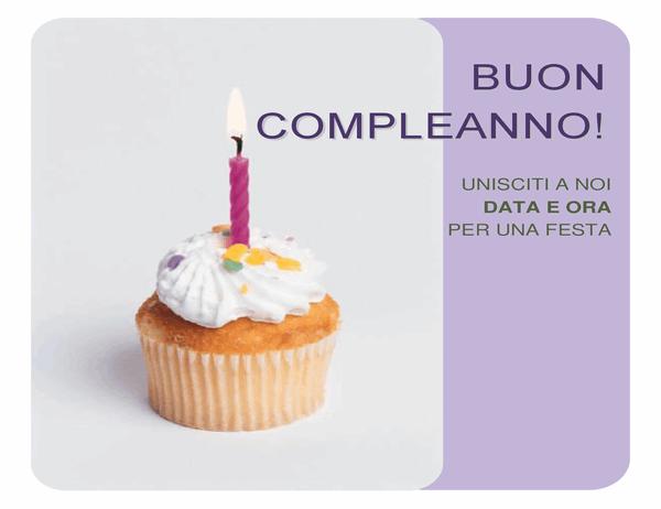 Volantino di invito di compleanno (con un cupcake)