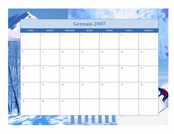 Calendario 2007 (12 pagine, struttura stagionale)