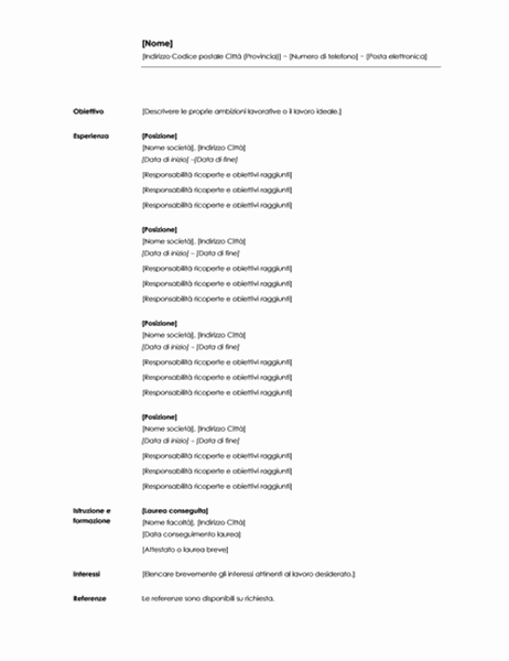 Curriculum cronologico (tema minimalista)