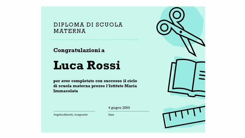 Certificato di diploma della scuola materna