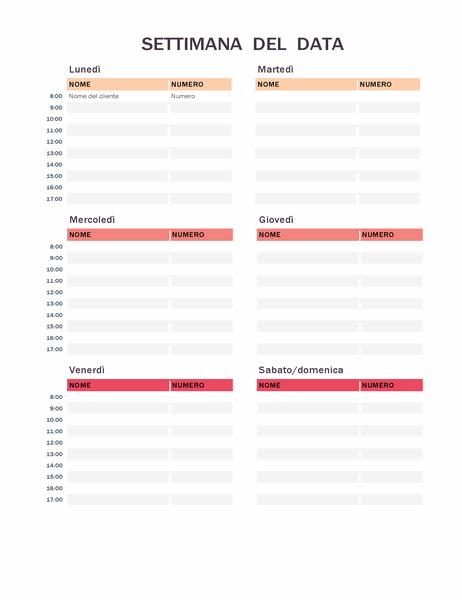 Calendario appuntamenti settimanali