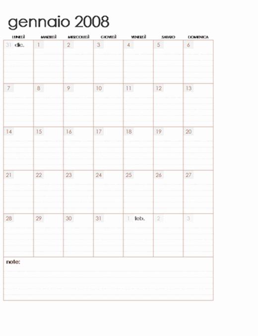 Calendario 2008 su più fogli di lavoro (12 pagine, lun-dom)