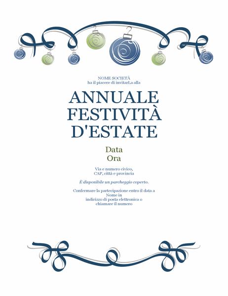 Volantino per festa durante il periodo invernale con decorazioni e fiocco blu (design formale)