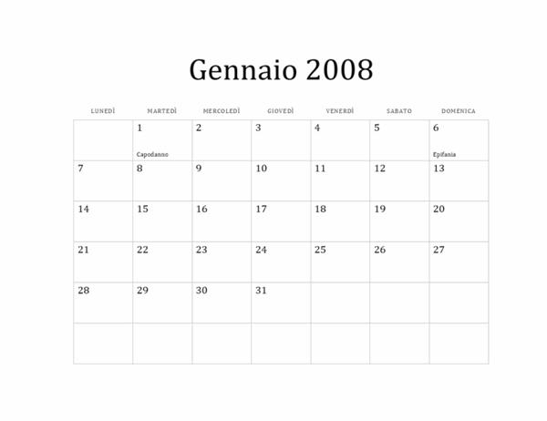 Calendario 2008 (struttura di base, lun-dom)